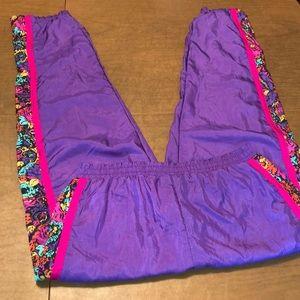 VTG Purple & Pink Lined Track Athletic Pants Sz M